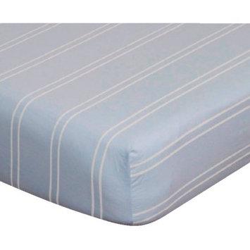 Go Mama Go Designs Blue & Cream Stripe Cotton Crib Sheet
