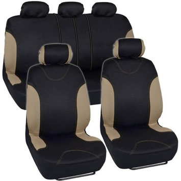 Bdk Tan Trim Black Car Seat Covers Full 9pc Set - Sleek Stylish - Split Option Bench 5 Headrests Front