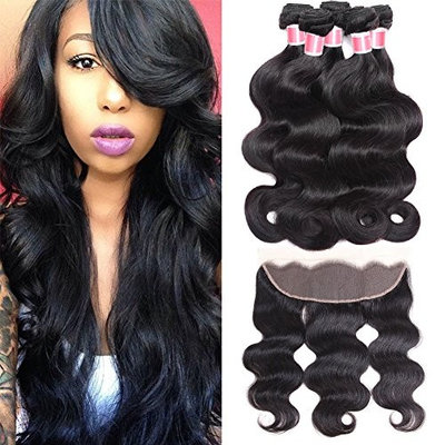 Beauty Princess Ear to Ear Lace Frontal Closure with 3 Bundles Brazilian Body Wave with Closure Unprocessed Human Hair Bundles with Full Lace Frontal Closure Natural Black Color (16 18 20+14, Black)