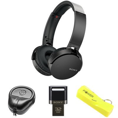 Sony XB Series Wireless Bluetooth Headphone w/ Extra Bass-Black w/ Flash Drive Bundle