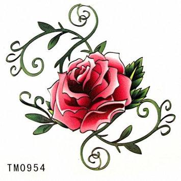MapofBeauty Pink and Green Rose Flower Temporary Waterproof Body Art Tattoo Sticker (2 pcs/lot)