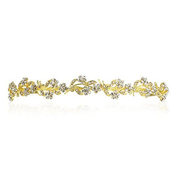 Floral Flower Wreath Headband Tiara - Gold Plating Clear Crystals T675