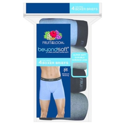 Fruit of the Loom® Men's 4pk Beyond Soft Boxer Briefs - Blue/Black/Gray