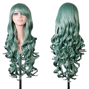 YaRui Curly Wig Long Side Bangs Heat Resistant Spiral Fashion Wig for Daily Cosplay Costume Party Mint Green 32
