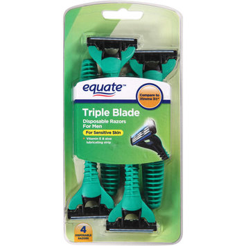 Equate Men's 3-Blade Disposable Razors, 4 Ct