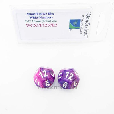 Wondertrail Products Violet Festive Dice with White Numbers D12 Aprox 16mm (5/8in) Pack of 2 Wondertrail