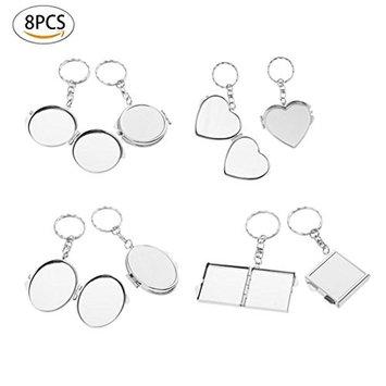 Healthcom Portable Folding Makeup Cosmetic Travel Pocket Compact Mirror Makeup Mirror Key Ring Keychain (8 PCS)
