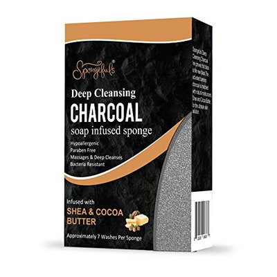 Charcoal Detoxifying Soap Infused Sponge with Shea and Cocoa Butter and Activated Bamboo Charcoal for all Skin Types Spongefuls