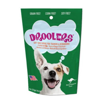 Pipeline Pet Products Droolers Chewy Dog Snacks Kangaroo Chews Dog Treat, 4 oz