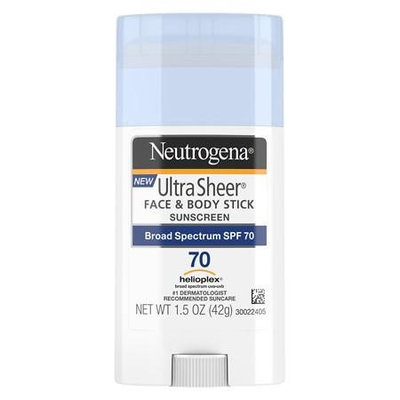Neutrogena UltraSheer Face & Body Stick Sunscreen, SPF 70 1.5 oz.(pack of 3)