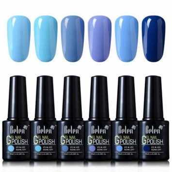 Belen 6 Colors Soak Off Gel Nail Polish UV LED Manicure 10ml Blue Colour Set