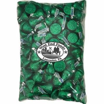 Bulk Milk Chocolate Hershey Kisses Dark Green Foils (2 lb) for Easter