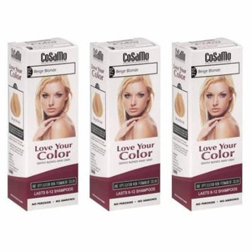 CoSaMo - Love Your Color Non-Permanent Hair Color 770 Beige Blonde - 3 oz. (Pack of 3) + Yes to Coconuts Moisturizing Single Use Mask