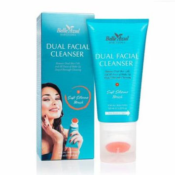 Belle Azul Dual Facial Cleanser with Exfoliating Cleansing Brush - Oil-Free Face Wash Gel with Cucumber Extracts 150 ml/5.28 fl.oz + Yes to Tomatoes Moisturizing Single Use Mask