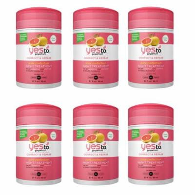 Yes To Grapefruit correct and repair pore perfection night treatment 1.7 oz (6 Pack) + Yes to Tomatoes Moisturizing Single Use Mask