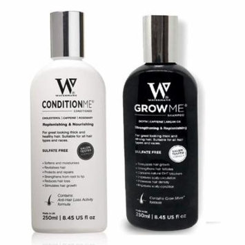 Waterman's Set: Grow Me and Condition Me for Preventing Hair Loss and Promoting Hair Growth, Salon Tested, Sulfate Free, 8.45 Oz Each + Yes to Coconuts Moisturizing Single Use Mask
