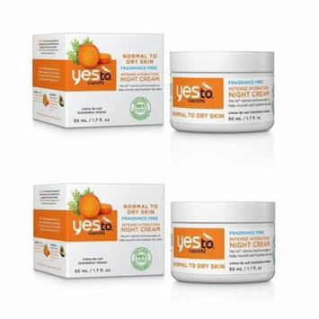 Yes To Carrots Normal To Dry Skin, Fragrance Free, Intense Hydration Night Cream, 1.7 Oz (Pack of 2) + Yes to Tomatoes Moisturizing Single Use Mask