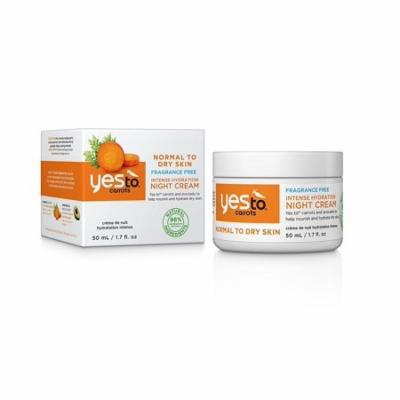 Yes To Carrots Normal To Dry Skin, Fragrance Free, Intense Hydration Night Cream, 1.7 Oz + Yes to Tomatoes Moisturizing Single Use Mask