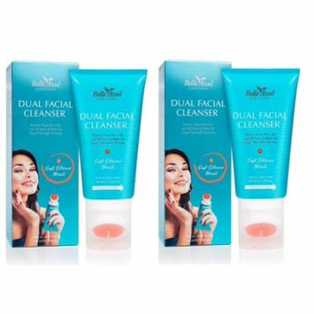 Belle Azul Dual Facial Cleanser with Exfoliating Cleansing Brush - Oil-Free Face Wash Gel with Cucumber Extracts 150 ml/5.28 fl.oz (Pack of 2) + Yes to Coconuts Moisturizing Single Use Mask