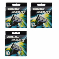 Gillette Mach3 Refill Cartridges, 8 Count (Pack of 3) + Yes to Tomatoes Moisturizing Single Use Mask