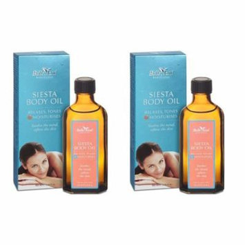 Belle Azul Siesta Body Oil 100 ml./3.38 fl. Oz (Pack of 2) + Yes to Coconuts Moisturizing Single Use Mask
