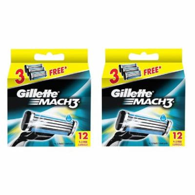 Gillette Mach3 Refill Razor Blade Cartridges, 12 Count (Pack of 2) + Yes to Coconuts Moisturizing Single Use Mask