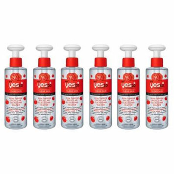 Yes To Tomatoes Clear Skin Acne Fighting Micellar Cleansing Water with Salicylic Acid, 7.77 Oz (Pack of 6) + Yes to Tomatoes Moisturizing Single Use Mask