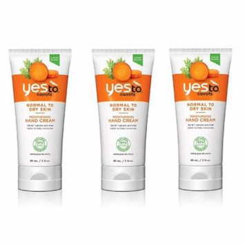 Yes To Carrots Normal To Dry Skin, Moisturizing Hand Cream, 3 Oz (Pack of 3) + Yes to Tomatoes Moisturizing Single Use Mask