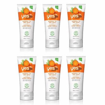Yes To Carrots Normal To Dry Skin, Moisturizing Hand Cream, 3 Oz (Pack of 6) + Yes to Tomatoes Moisturizing Single Use Mask