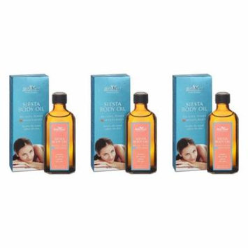 Belle Azul Siesta Body Oil 100 ml./3.38 fl. Oz (Pack of 3) + Yes to Coconuts Moisturizing Single Use Mask