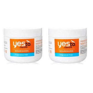 Yes To Carrots Nourishing Fragrance Free Intense Hydration Night Cream, 1.7 Oz (Pack of 2) + Yes to Coconuts Moisturizing Single Use Mask