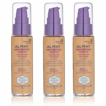 Almay Age Essentials Makeup Multi Benefit Anti Aging, Medium Warm #160 (Pack of 3) + Yes to Coconuts Moisturizing Single Use Mask