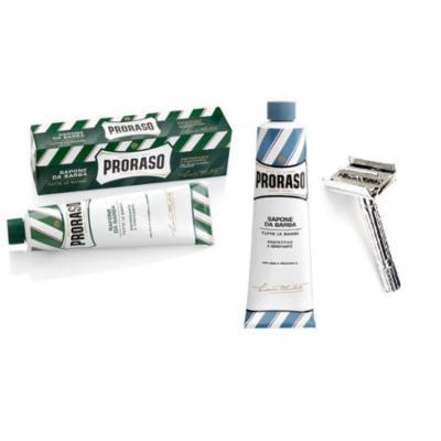 Proraso Shaving Cream, Menthol & Eucoplytus 150 ml + Proraso Shaving Cream, Aloe & Vitamin E 150 ml + Double Edge Razor + Yes to Coconuts Moisturizing Single Use Mask