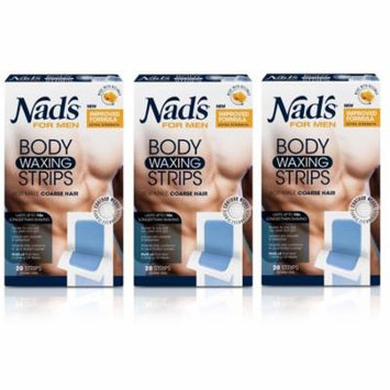 Nad's For Men Body Waxing Strips, 20 Count (Pack of 3) + Yes to Tomatoes Moisturizing Single Use Mask