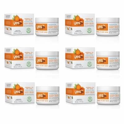 Yes To Carrots Normal To Dry Skin, Fragrance Free, Intense Hydration Night Cream, 1.7 Oz (Pack of 6) + Yes to Coconuts Moisturizing Single Use Mask