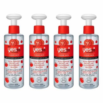 Yes To Tomatoes Clear Skin Acne Fighting Micellar Cleansing Water with Salicylic Acid, 7.77 Oz (Pack of 4) + Yes to Coconuts Moisturizing Single Use Mask