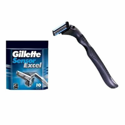 Compatible Razor Handle + Gillette Sensor Excel Refill Razor Blade Cartridges, 10 Ct + Yes to Coconuts Moisturizing Single Use Mask