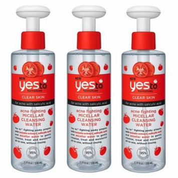 Yes To Tomatoes Clear Skin Acne Fighting Micellar Cleansing Water with Salicylic Acid, 7.77 Oz (Pack of 3) + Yes to Tomatoes Moisturizing Single Use Mask