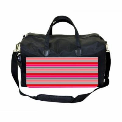 Pink Stripes Large Black Duffel Style Diaper Baby Bag