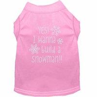 Yes! I Want To Build A Snowman Rhinestone Dog Shirt Light Pink Sm (10)