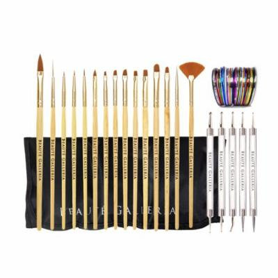 Beaute Galleria Bundle 50pcs Nail Art Tool Kit With Pouch: 5pcs Dotting Tool Marbleizing Pen (10 Sizes), 15pcs Acrylic Gel Detailing Painting Liner Brushes, 30pcs Striping Tapes