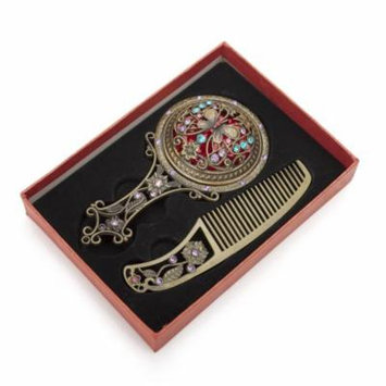 ALICE Antique Hand Mirror and Comb Set, With Gift Box, Silver or Bronze
