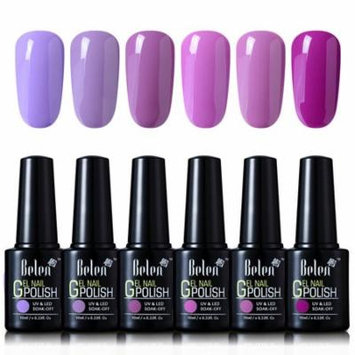 Belen 6 Colors Soak Off Gel Nail Polish UV LED Manicure 10ml Pink Purple Set
