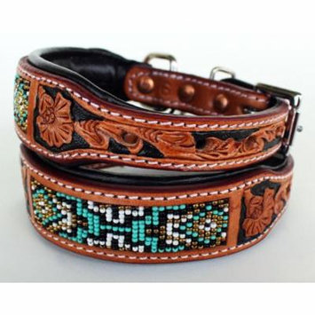 Dog Puppy Collar Genuine Cow Leather Padded Canine Beaded 60115