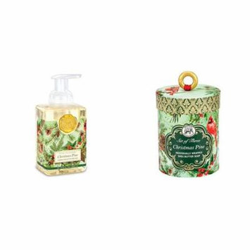 Michel Design Works Triple Milled 3-Piece Shea Butter Soap Gift Set and Scented Foaming Hand Soap - Christmas Pine