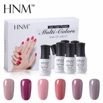 HNM 8ML Nail Gel Polish Multi-Colors Manicure UV LED Soak Off 6 Colors Set Gift Box Starter Kits-Nude Color Series