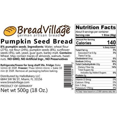 BreadVillage German Pumpkin Seed Bread, 1 Loaf