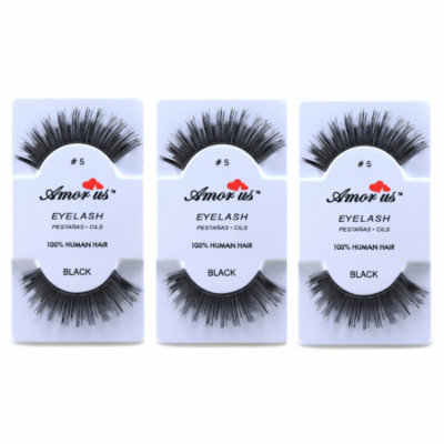 LWS LA Wholesale Store 3 Pairs AmorUs 100% Human Hair False Eyelashes # 5 compare Red Cherry