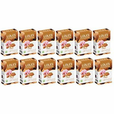 LOLE'S Premium 100% Pure Natural Soap with Almond - Face and Body Care Beauty Bar, Cleanse, Moisturize - Vitamin E, Paraben Free, SLS-Free, Fresh Touch, 100% Vegetable - PACK OF 12 (3.5 oz ea)