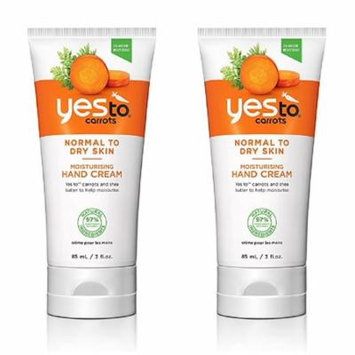 Yes To Carrots Normal To Dry Skin, Moisturizing Hand Cream, 3 Oz (Pack of 2) + Yes to Tomatoes Moisturizing Single Use Mask